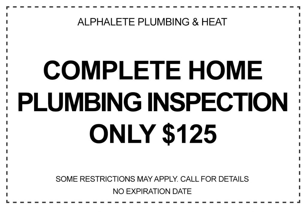 $125 coupon for a complete plumbing home inspection