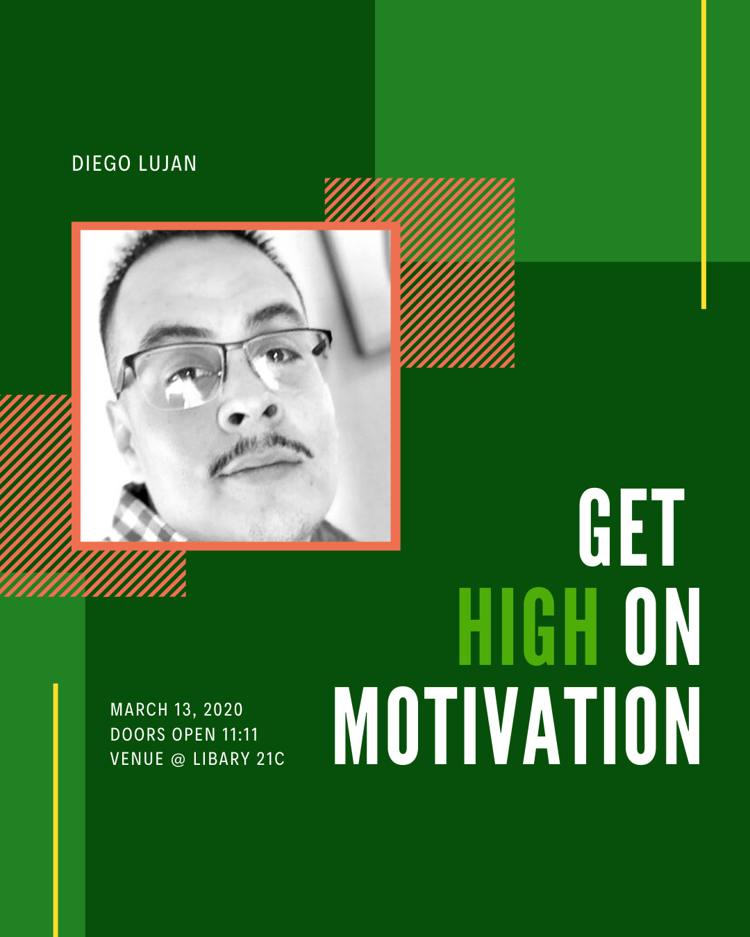 Green poster with picture of Diego Lujan