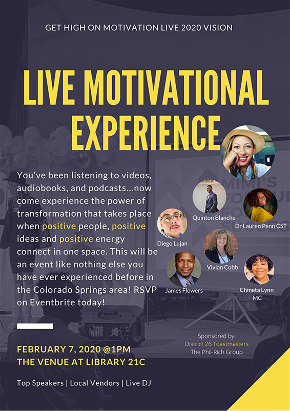 A poster image for the live motivational experience at Library 21C in Colorado Springs